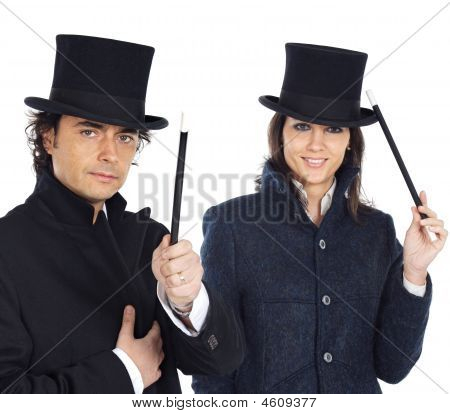 Attractive Couple With A Magic Wand