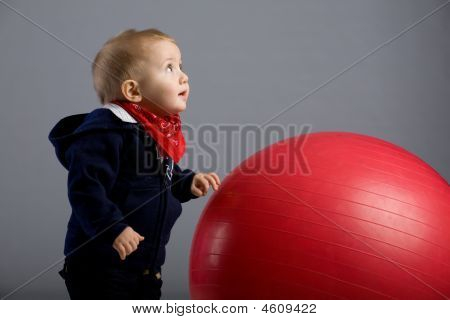 Toddler Boy And Ball