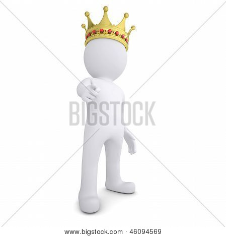 3d man with crown pointing finger at the viewer