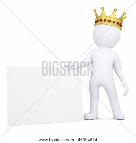 3d man with crown holding blank business card