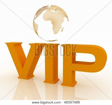 VIP abbreviation with a globe. 3D text  on a white background