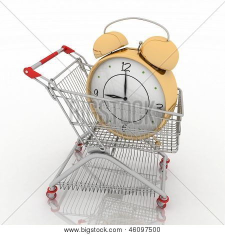 shopping cart with clock in white background