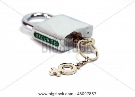 Padlock security with a female gender key holder