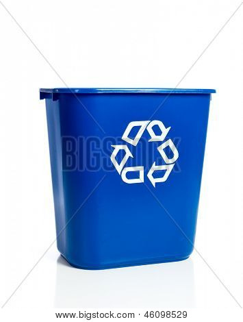A blue recycling bin on a white background
