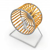 stock photo of hamster  - It is possible to generate electricity with the help of a hamster wheel - JPG