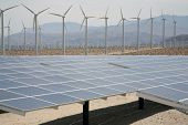 Solar Panels AKA- Photovoltaic Cells in a SOLAR FARM with Wind Turbines in the background collect an