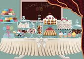 foto of curtain  - Different cakes on cake - JPG