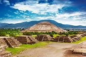 stock photo of aztec  - Pyramids of the Sun and Moon on the Avenue of the Dead - JPG