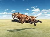 image of saber-toothed  - Computer generated 3D illustration with the Smilodon - JPG