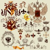 picture of winged-horse  - Vector set of luxury royal vintage elements  your heraldic design - JPG
