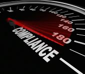 pic of policy  - Compliance Word Speedometer tracking your progress toward rules - JPG