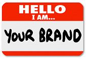 foto of hate  - A red nametag sticker with words Hello I Am Your Brand to network yourself and promote your skills and abilities to win new business or land a new job in your career - JPG