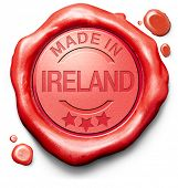 stock photo of ireland  - made in The Ireland original product buy local buy authentic Irish quality label red wax stamp seal - JPG