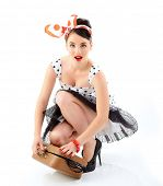 picture of pinup girl  - Pinup girl with suitcase in dress spotted - JPG