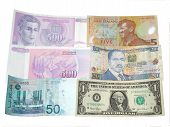 stock photo of nzd  - A photo of multiple country currency such as Malaysian Ringgit US Dollar New Zealand 5 Dinara 500 and Kenya - JPG