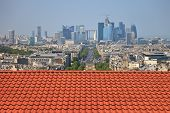 stock photo of overpopulation  - The view from the roof of the diverse architecture of Paris France.