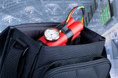 stock photo of terrorist  - time bomb in a backpack representing terrorist attack - JPG