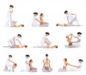 pic of thai massage  - Set collection with many different images of the woman getting traditional thai stretching massage by therapist isolated on white background - JPG