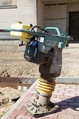 picture of vibration plate  - Tamping Rammer at the street construction site - JPG