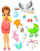 stock photo of expectations  - pregnant woman with a collection of items related to babies - JPG