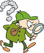 stock photo of private investigator  - Sherlock Holmes looking for clues with his magnifying glass - JPG