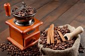 picture of wooden box from coffee mill  - coffee grinder and sack with coffee beans - JPG