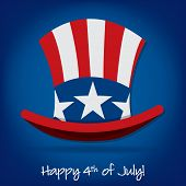 stock photo of patriot  - Patriotic Uncle Sam hat 4th of July card in vector format - JPG