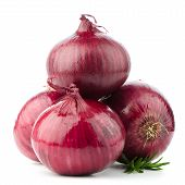 stock photo of root vegetables  - Four red onions isolated on white background - JPG