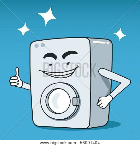 Washing machine illustrated character