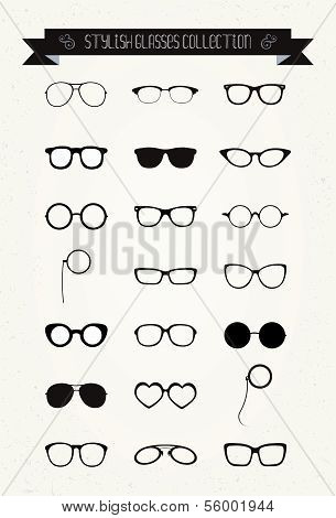 Hipster retro Vintage Brille-Icon-set