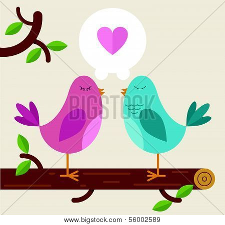 Love Birds on a branch