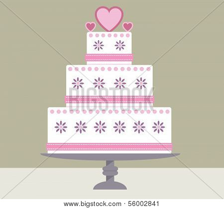 Heart wedding cake on a stand
