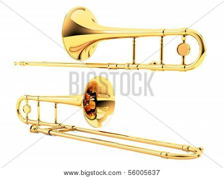 Trombone isolated. Multiple angles of view