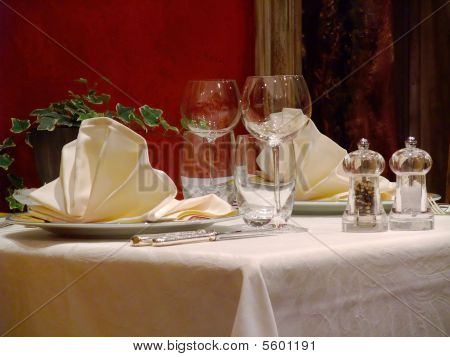 Table Set In A French Restaurant