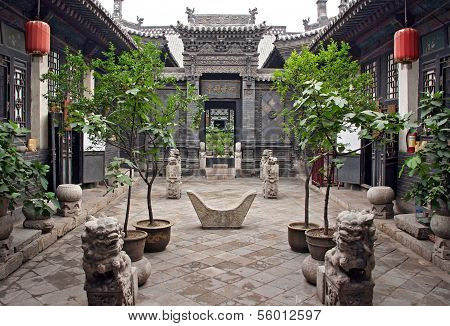 Ornamental Courtyard Of A Historical House In Pingyao, China