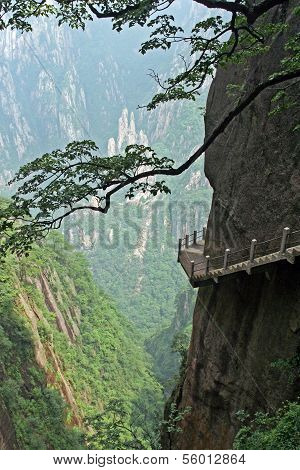 The Pathway Made On The Vertical Slope Of A Mountain, Huang Shan, China