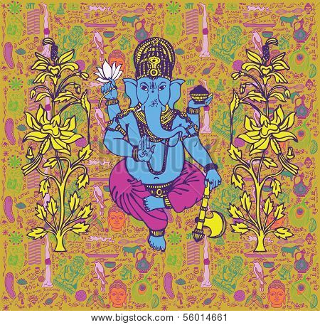 Background with Indian god Ganesh.