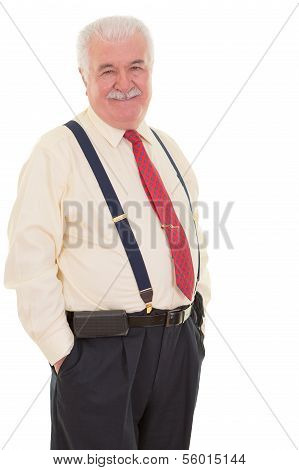 Genial Senior Businessman In Suspenders