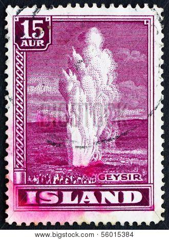 Postage Stamp Iceland 1938 Geyser, Natural Phenomenon
