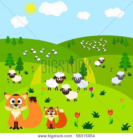 Cartoon Background With Fox And Sheeps