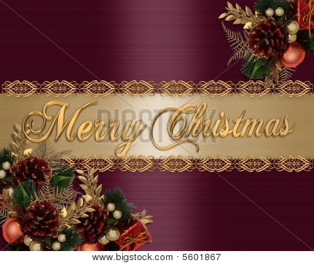 Merry Christmas Card Red Satin