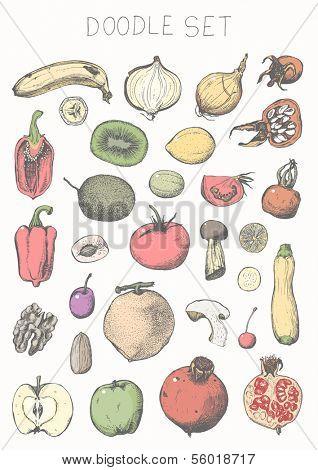 Doodle set - fruits