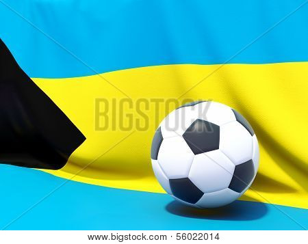 Flag Of Bahamas With Football In Front Of It