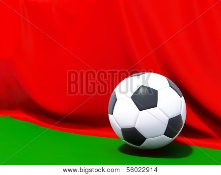Flag Of Belarus With Football In Front Of It