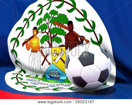 Flag Of Belize With Football In Front Of It