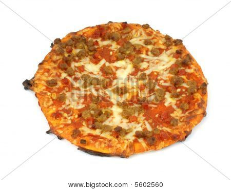 Cooked inexpensive pizza
