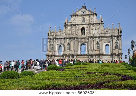 Visitors visit the ruin St. Paul church in Macau