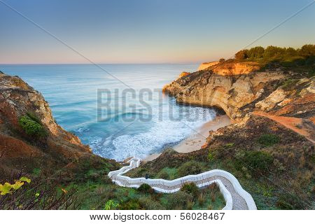 Beautiful Seascape Bay With Serpentine Steps. Portugal, Carvoeiro.