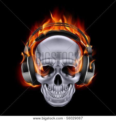 Flaming skull in headphones.
