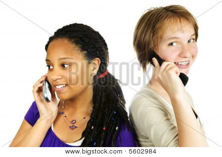 Teen Girls With Mobile Phones